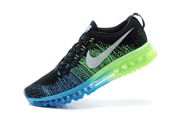 耐克/Nike air max 全掌彩虹氣墊 男生運動休閒鞋 慢跑鞋(黑草綠40-45)
