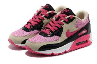 NIKE/耐克NIKE AIR MAX 90 女生氣墊慢跑鞋 運動休閒鞋(米黃黑紅36-40)
