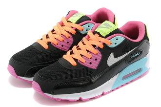 NIKE/耐克 AIR MAX 90彩虹345017-063 女生氣墊慢跑鞋 運動休閒鞋(黑粉藍36-39))