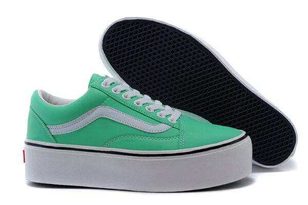 Vans 經典增高皮 薄荷綠低V098 女鞋 39號