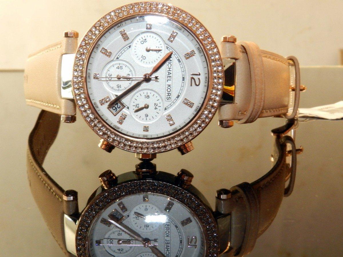 美國Outlet正品代購 MichaelKors MK 真皮水鑽棕色 三環 手錶 腕錶 MK5633 4