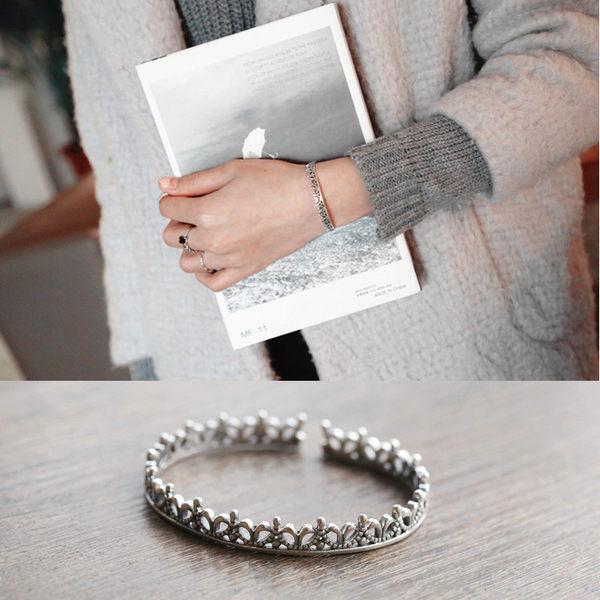 PS Mall 韓版復古款古銀手鐲鏤空皇冠開口手鐲女手環手飾飾品【G1992】