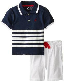 兒童服飾 Nautica男海軍風針織藍白條紋Polo衫搭白短褲18M [babyzuriel 祖瑞兒嬰幼童用品]