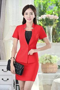 802款立領短袖西裝外套(紅色)