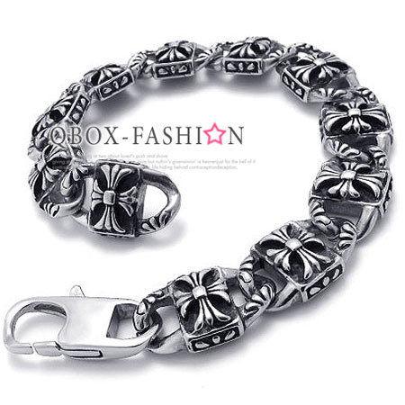 《 QBOX 》FASHION 飾品【W10021603】精緻個性方面克羅心十字架316L鈦鋼手鍊/手環