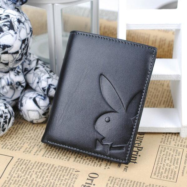 【橘子包舖P1110304】PLAYBOY.男頭層牛皮長夾.兔頭皮夾.錢包