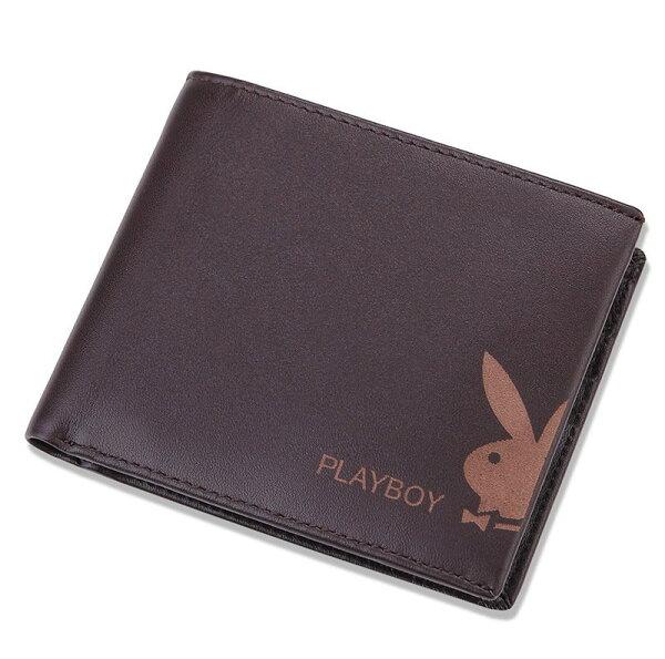 【橘子包舖P110093】PLAYBOY.男牛皮短夾.兔頭皮夾.錢包