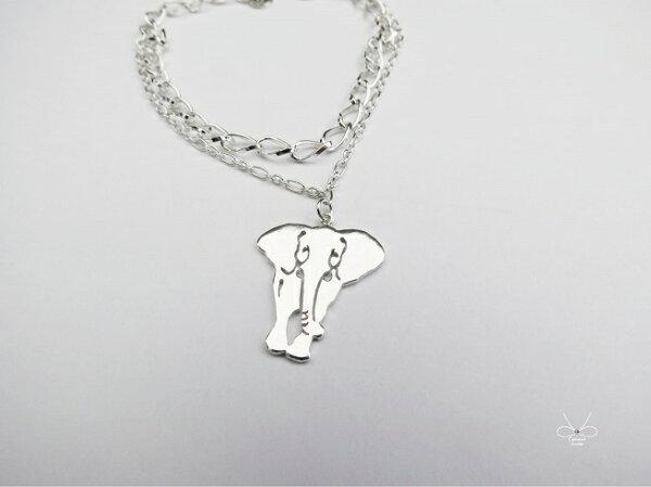 ::C%手工飾品::微笑大象 (925純銀手鍊 銀飾)