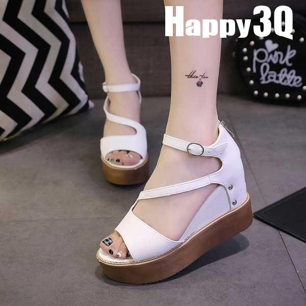 厚底扣搭拉鍊魚口楔型涼鞋-白/黑35-39【AAA0261】