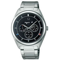 agnès b.到agnes b V14J-0CG0D(BT5009P1)太陽能巴黎時尚雙日曆腕錶/黑面40mm