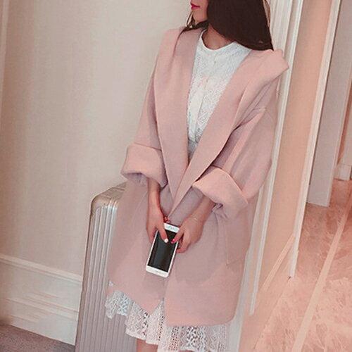 外套 - 純色長袖開衫寬鬆磨毛連帽大衣 外套【29162】藍色巴黎《2色》現貨+預購 1