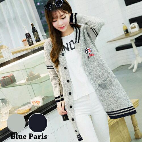外套 - 撞色羅紋貼布設計針織長袖外套【29189】藍色巴黎《2色》現貨 + 預購 0
