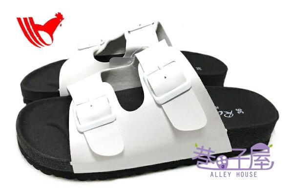 【巷子屋】ROOSTER公雞 女款經典勃肯/柏肯雙釦黑底拖鞋 [2352] 白色 MIT台灣製造 超值價$198