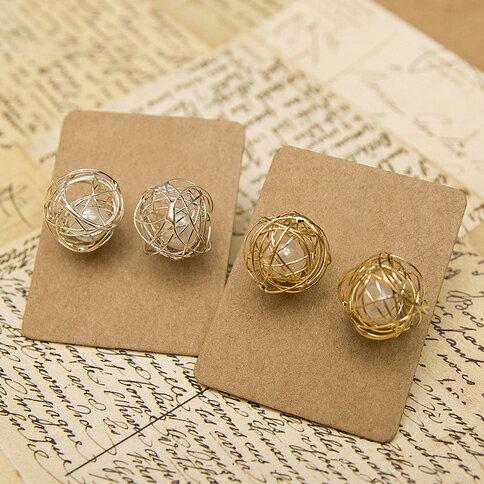 【秘密飾品】「哲學家的思緒」手作設計珍珠耳環(兩色) (現+預)