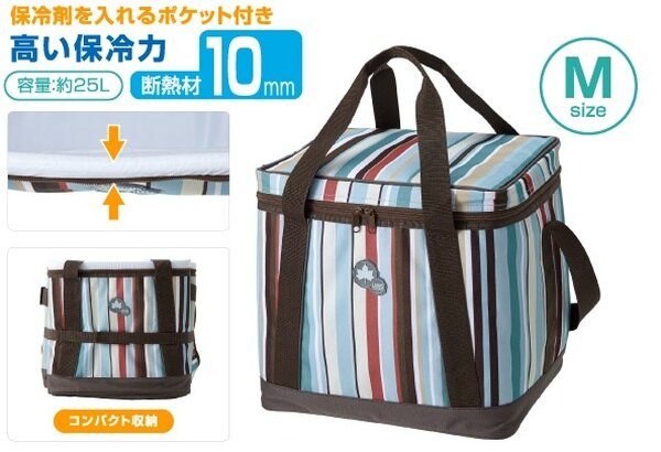 【露營趣】中和 日本 LOGOS LG81670710條紋軟式保冷袋M 25L 摺疊冰箱 保冰袋 保溫袋 冰桶 野餐籃