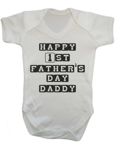 Happy 1st Fathers Day Daddy Baby Infant Bodysuit Sleepsuit