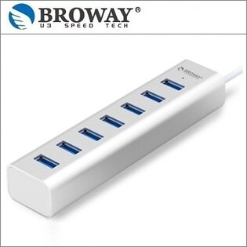 BROWAY 極速 USB 3.0 7埠 HUB集線器 鋁合金 時尚銀