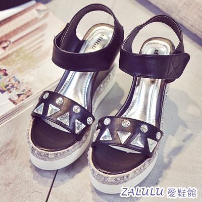 ☼zalulu愛鞋館☼ FE017 夏日美腿 厚底楔型涼鞋 車縫水鑽亮片裝飾~黑 白 35
