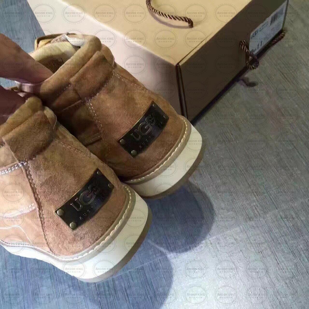 OUTLET正品代購 澳洲 UGG 新款冬季男款貝克漢 皮毛一體 短靴 保暖 真皮羊皮毛 雪靴 短靴 駝色 2