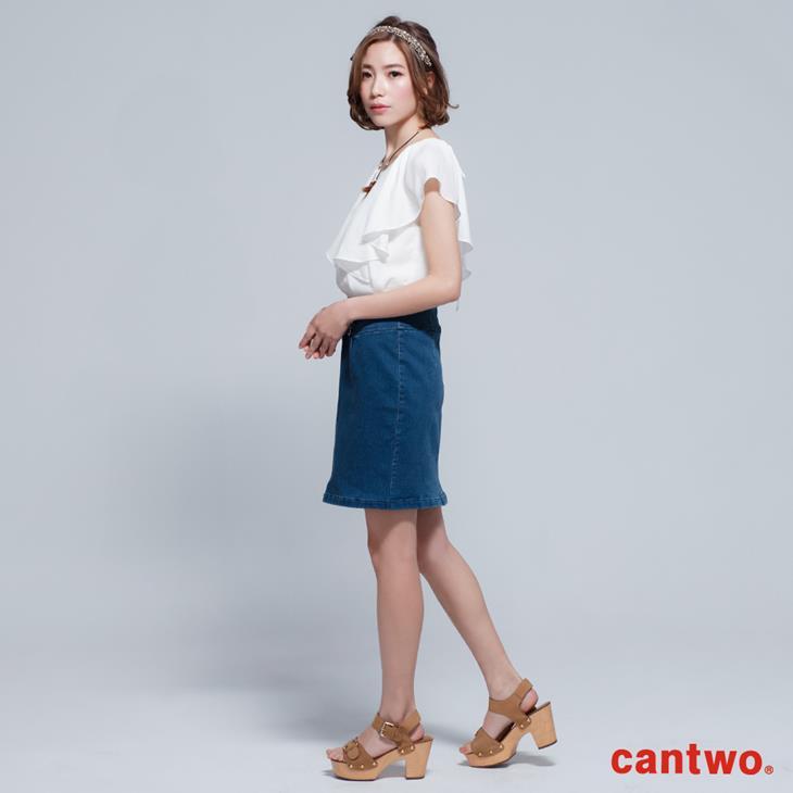 cantwo雪紡荷葉丹寧洋裝(共二色) 2
