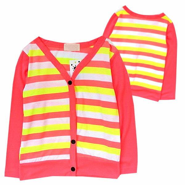 【班比納精品童裝】橫條紋開扣V領外套-螢光橘【BO150303009】