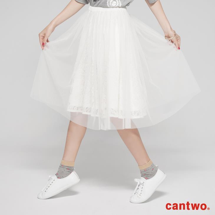 cantwo蕾絲花朵網紗及膝裙(共二色) 1