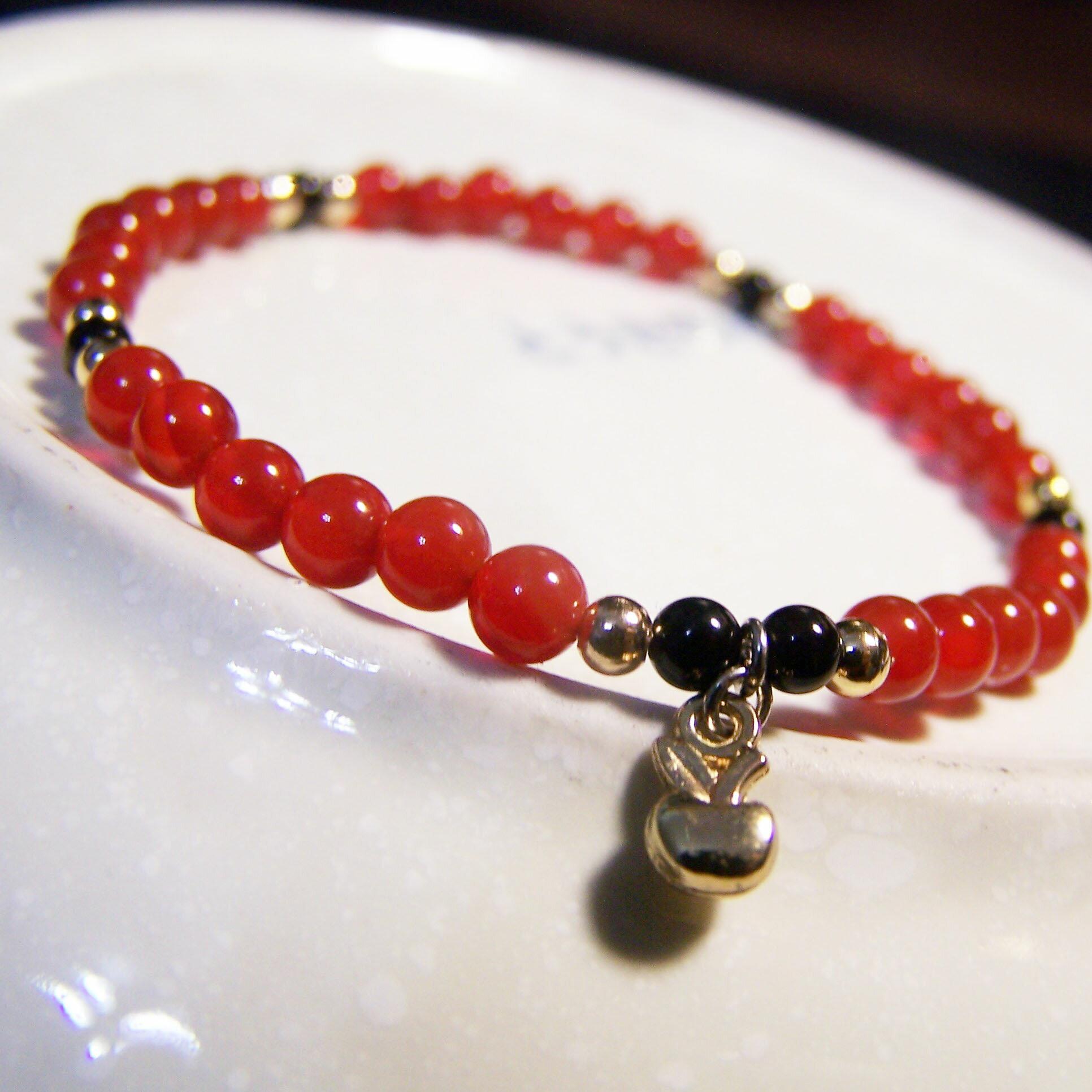 be young【比漾】Mini 秀麗手環 (紅+黑瑪瑙) 單圈手鏈 3