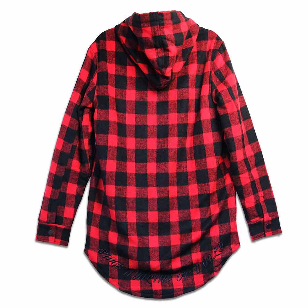 STAGE FOLD SLEEVE FLANNEL SHIRT 黑白色 / 黑紅色 兩色 5