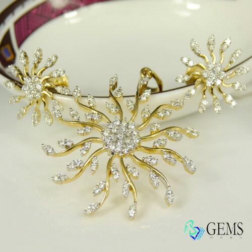 天然真鑽 太陽 異國風18K金精緻耳環 Radiant Gems閃亮寶石