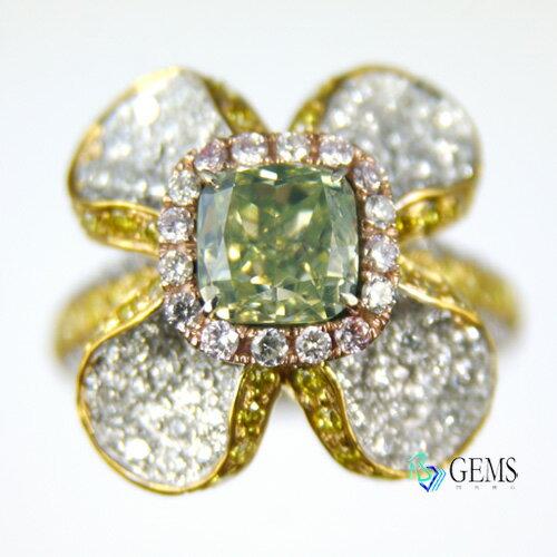 綠鑽百合花戒指 1.6克拉  GIA彩鑽 天然真鑽 Radiant Gems閃亮寶石