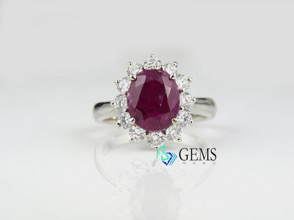 貴氣紅寶石戒指 3.21克拉 天然無燒 附賴泰安證書  Radiant Gems閃亮寶石