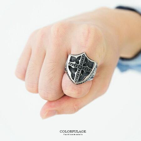 戒指 復古盾牌十字架造型食指環寬版戒 鋼製材質 刻紋圖騰 大SIZE盾牌 柒彩年代【NC188】厚實感 0