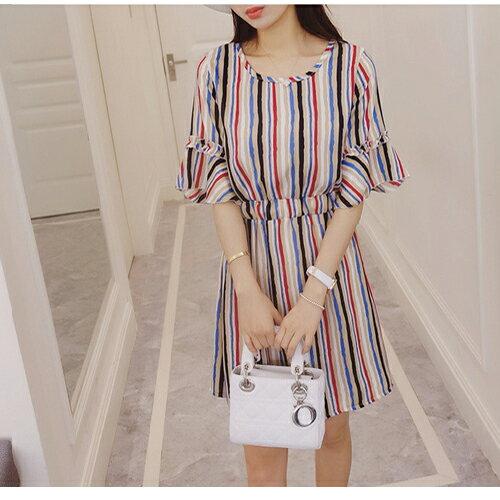 短洋裝 - 混色直條縮腰短袖連衣裙【29133】藍色巴黎《2色》現貨+預購 1