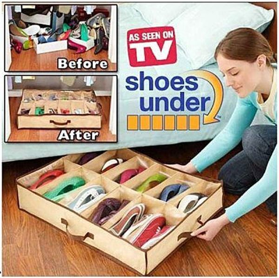 TV熱銷-大號不織布12雙透明收納鞋盒 床下12格鞋袋 透明收納盒 鞋子收納盒 床下鞋盒♦ 樂荳城 ♦