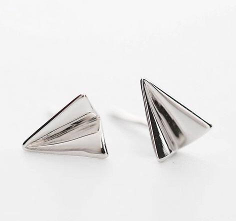 Tokyo Alice 925純銀亮面紙飛機耳環,純銀飾品首飾耳飾貼耳針飾品(se0000023)