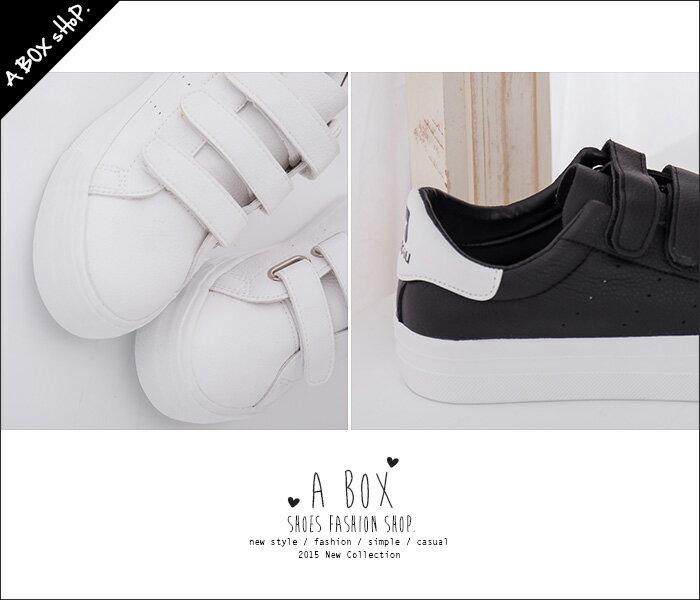 格子舖*【KH6850】基本款百搭 方便時尚魔鬼氈好穿脫 舒適厚底皮革休閒鞋 帆布鞋 3色 2