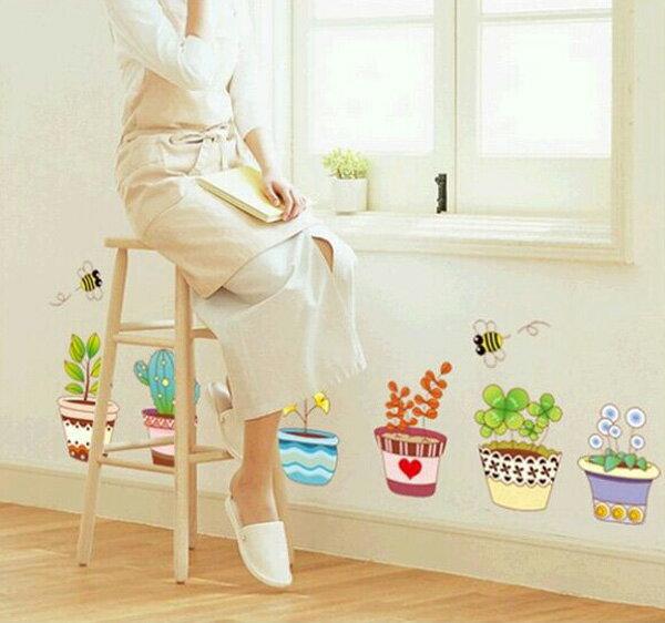 Loxin☆創意可移動壁貼 彩色盆栽【BF0886】DIY組合壁貼/壁紙/牆貼/背景貼/裝飾佈置/室內設計裝潢/客廳臥室浴室