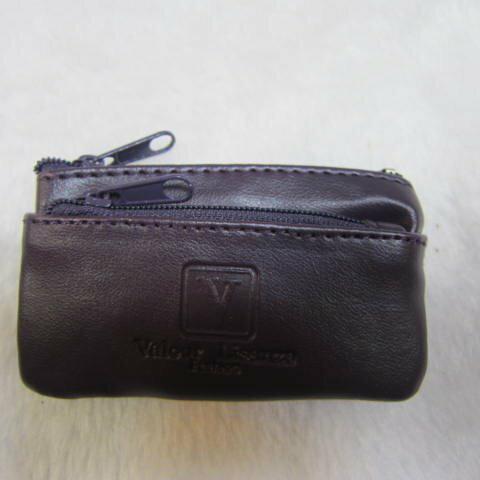 ~雪黛屋~Valour 零錢包小型容量可穿過皮帶固定拉鍊主袋進口防水防刮皮革多層設計零錢鑰匙包男女皆適用 V773A深紫