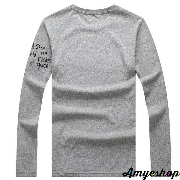 長袖   T-Shirt   情侶   MIT台灣製  隨性塗鴉文字+左袖印刷長T【G4256】艾咪E舖    情侶長袖 5