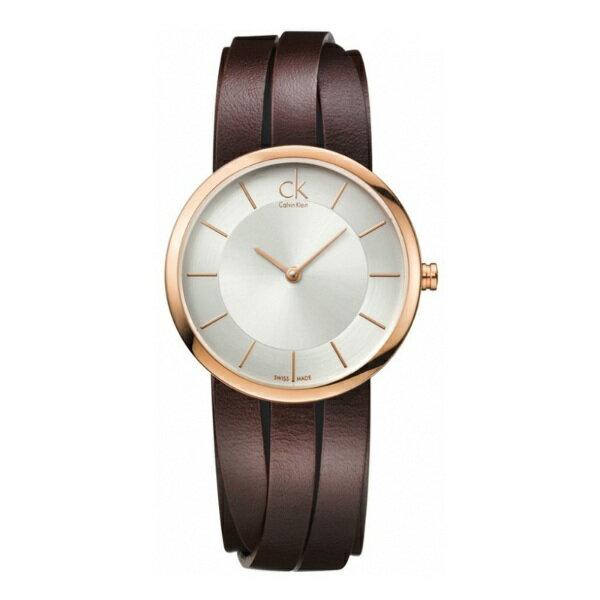 CK 纏繞系列(K2R2M6G6)皮繩玫瑰金時尚腕錶(長繩版)/白面32mm