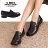 格子舖*【KiPA228】MIT台灣製 透氣亮皮 2.5cm粗低跟 學生皮鞋 休閒皮鞋 黑色 - 限時優惠好康折扣