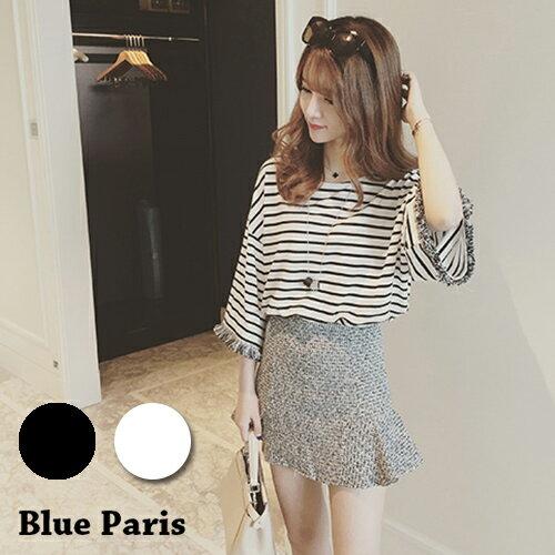 上衣 - 橫條紋流蘇袖寬鬆短袖上衣【29101】藍色巴黎《2色》現貨+預購 0