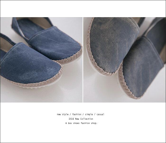 ★399免運★格子舖*【KF228-1X】個性簡約大方 特殊車線設計 仿牛仔布紋皮革 平底包鞋 娃娃鞋 懶人鞋 2色 2