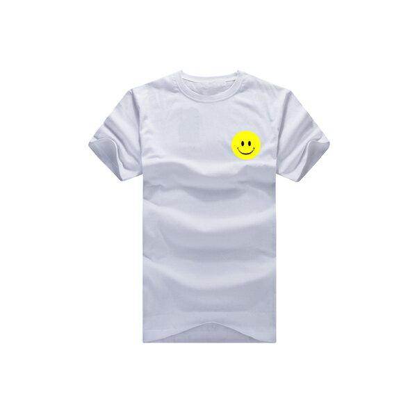 ◆快速出貨◆T恤.情侶裝.班服.MIT台灣製.獨家配對情侶裝.客製化.純棉短T.左胸簡單黃色笑臉【YC366】可單買.艾咪E舖 2
