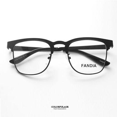 光學眼鏡 亮面素黑復古眉框造型薄片鏡架鏡框 文青風中性款式 柒彩年代【NYA12】 可配度數鏡片 - 限時優惠好康折扣