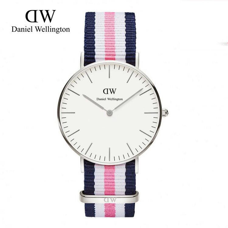 瑞典正品代購 Daniel Wellington 0605DW 銀  尼龍 帆布錶帶 女錶手錶腕錶 36MM 0