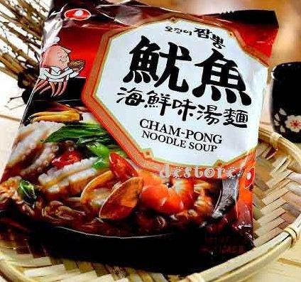 有樂町進口食品 韓國泡麵~農心魷魚海鮮味湯麵魷魚風味炒碼麵 0