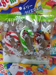 有樂町進口食品 聖誕拐杖糖 小小包裝 心意滿滿 (1包3支隨機/以聖誕包裝袋包.圖案隨機 )