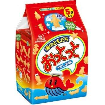 有樂進口食品 日本森永 魚型餅乾 薄鹽口味 (一袋5包入)小魚點心餅 4902888215094 0