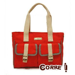 CORRE【CP802】復古帆布肩背包 馬卡龍綠/紅/藍/橘 2